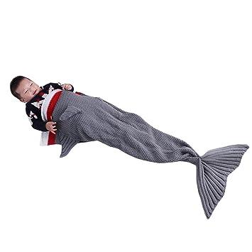 EnjoyBridal sirena dormir mantas para niños adolescentes dorado de peces y tiburón cola de pez manta de salón manta suave, diseño de sirena: Amazon.es: ...