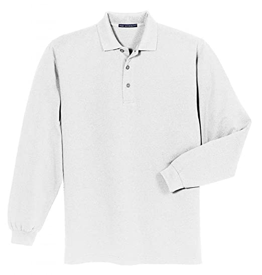 4eded4a1d Port Authority Men s Heavyweight Long Sleeve Pique Knit Polo Shirt at  Amazon Men s Clothing store