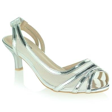 9cdb6206617 Women Ladies Evening Wedding Party Prom Bridal Slingback Low Kitten Heel  Peeptoe Silver Sandals Shoes Size