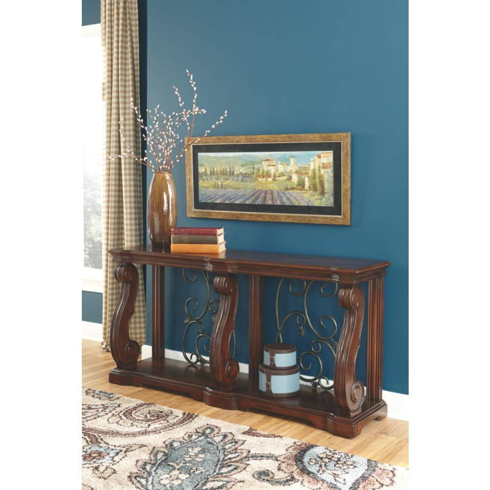 Ashley Furniture Signature Design – Alymere Sofa Table or Entertainment Console – Rectangular – Rustic Brown
