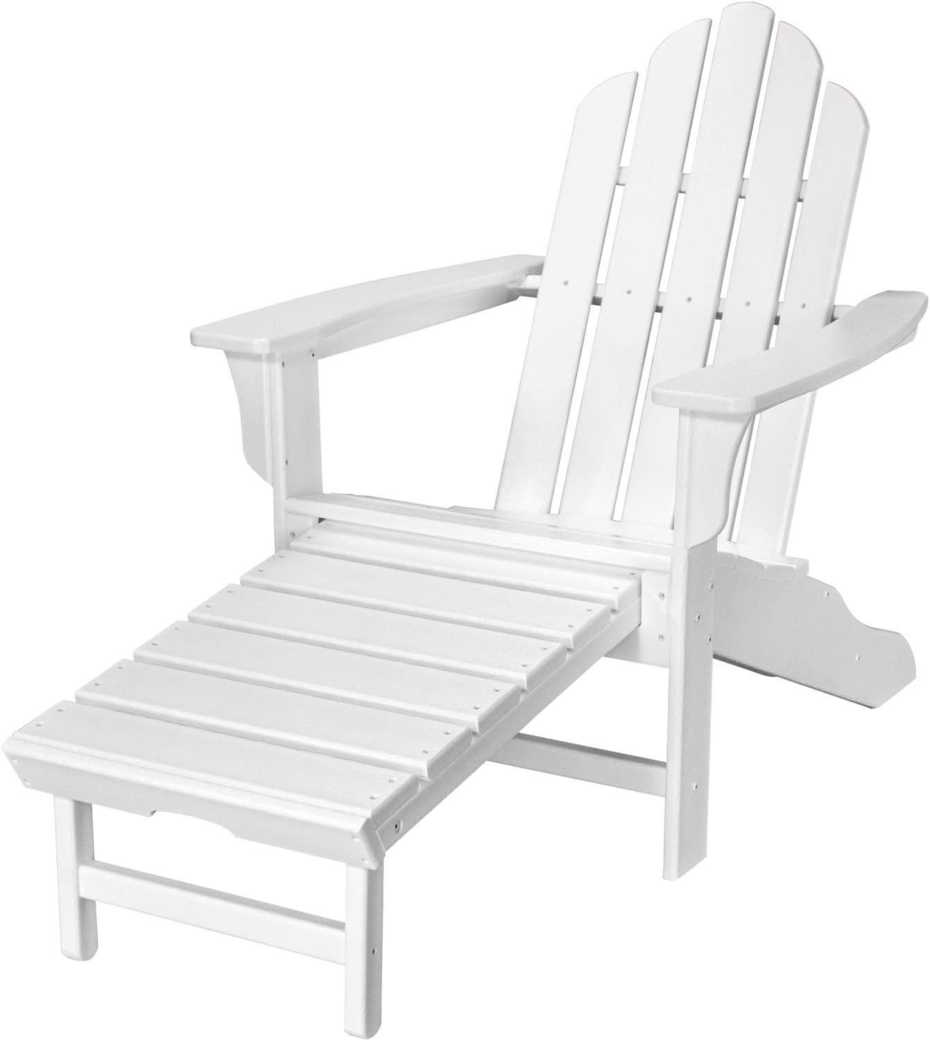 Hanover Outdoor Furniture HVLNA15WH All Weather Contoured Adirondack Chair with Hideaway Ottoman, White