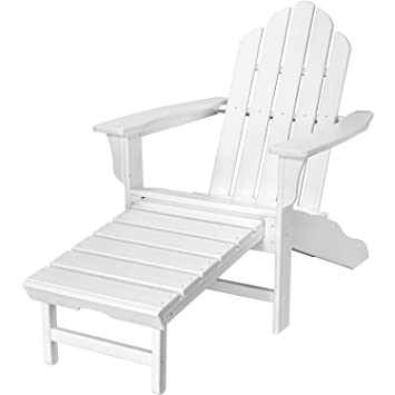 Marvelous Hanover Outdoor Furniture Hvlna15Wh All Weather Contoured Adirondack Chair With Hideaway Ottoman White Machost Co Dining Chair Design Ideas Machostcouk