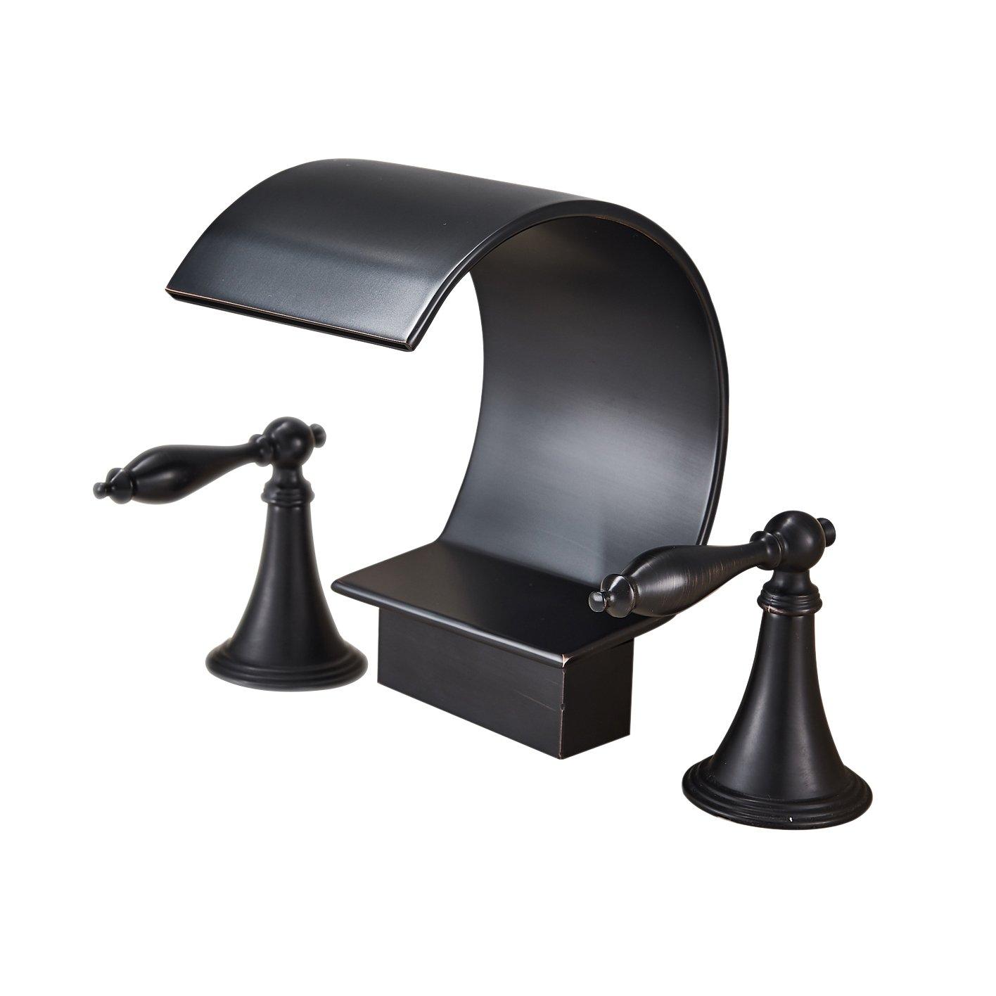 Rozin Oil Rubbed Bronze Bathtub Faucet Dual Handles Basin Mixer Tap ...