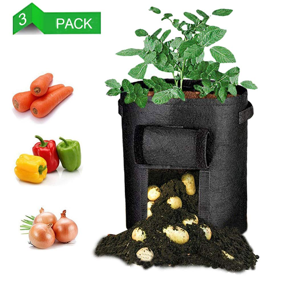 LEHOUR Potato Grow Bags, Planter Bag 7 Gallon, Garden Bags for Vegetable, Fabric Planting Pots with Handles, Potato Planter Bag with Access Flap, Breathable Nonwoven Growing Gags, 3 Pack Black