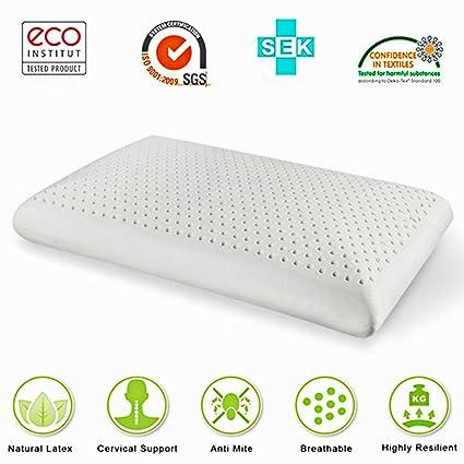 Látex almohadas de espuma anti ronquidos sueño profundo y ácaros alergia Confort de lujo Natural de