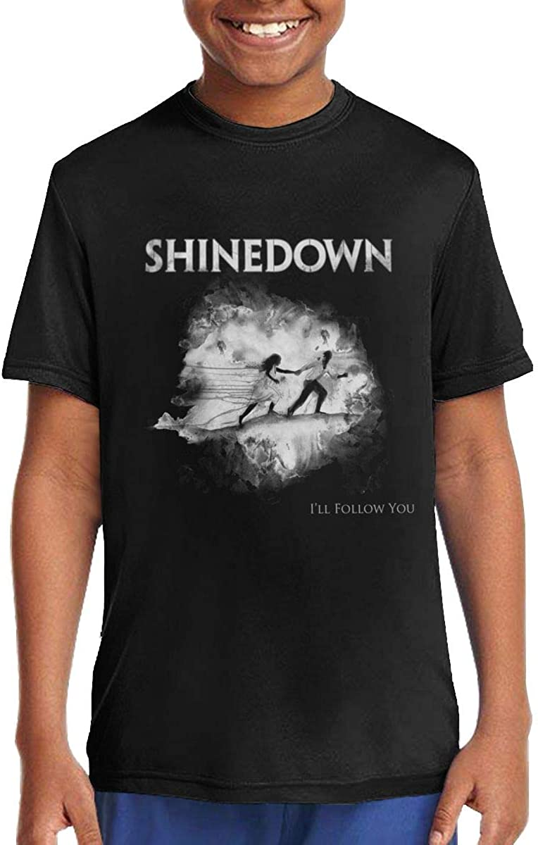 Shinedown Ill Follow You Music//Rock//Singer Cotton Round Neck Short Sleeve T-Shirt for Teen Boys and Girls Classic Fit Black
