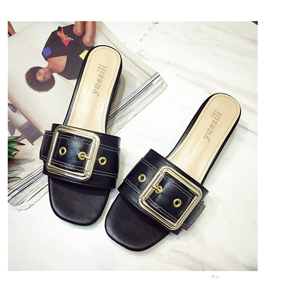 Hong Kong Style Slippers Female 2019 Spring and Summer New Korean Version of The Belt Buckle Word Student Wearing Non-Slip Beach Sandals