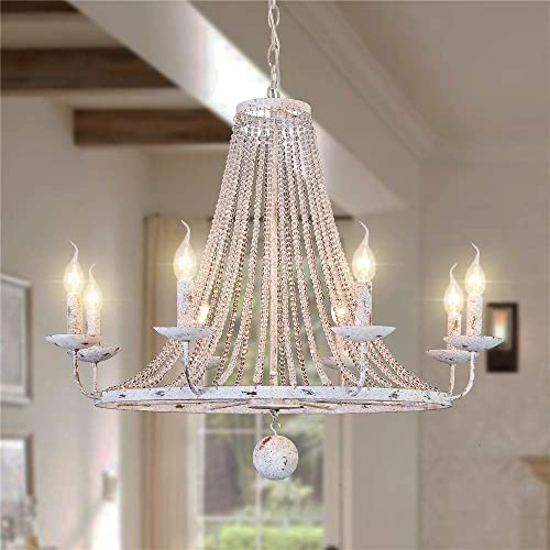 OSAIRUOS Distressed White Chandeliers Rustic Crystal Chandelier Vintage Round Hanging Light Fixture Wagon Wheel Lighting