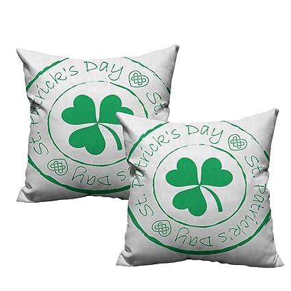 2pcs Plush Throw Pillows Cover Shamrock Heart Printed Pillowcases St Patrick/'s