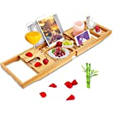 BRITOR Bathtub Caddy Trays - Premium Bamboo Bath Trays with Extending Sides, Reading Rack, Tablet Holder, Cell Phone…
