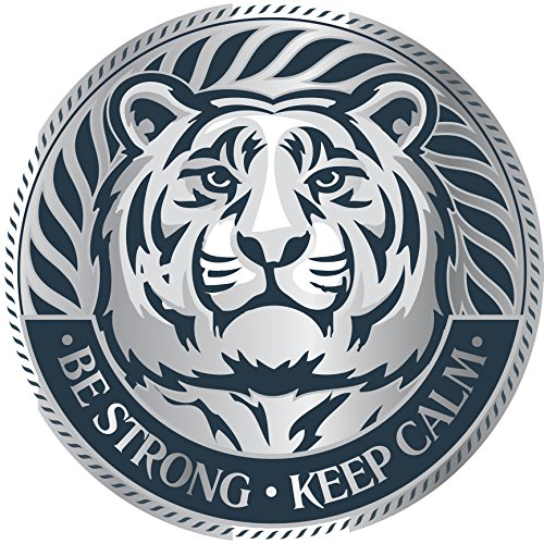- Be Strong Keep Calm Tiger Tigress Silver Icon Vinyl Decal Sticker (8