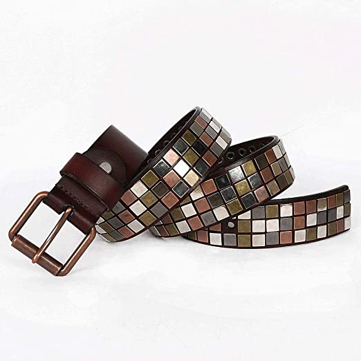 Punk Mens Leather Belt Business Top Layer Leather Pin Buckle Casual Belt