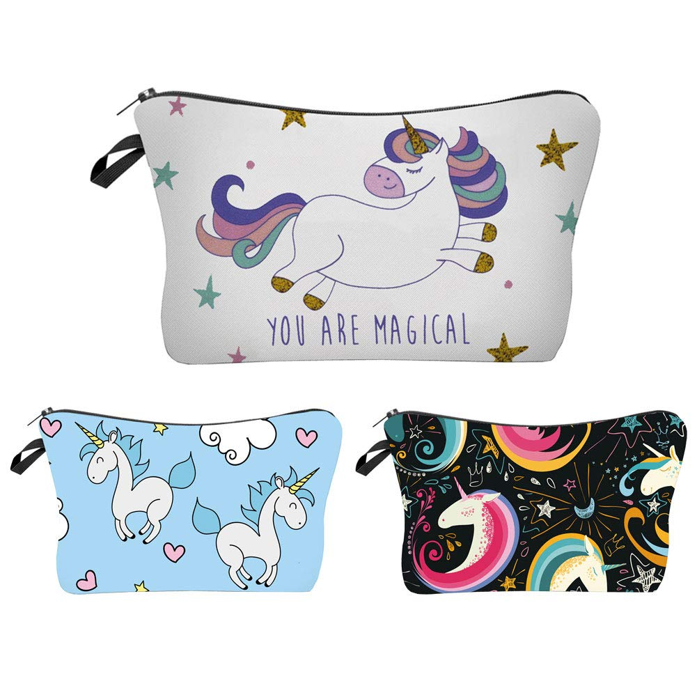 Water Resistant Unicorn Makeup Bag, Heat Transfer Printing Cosmetic Bags Travelling case (Unicorn)