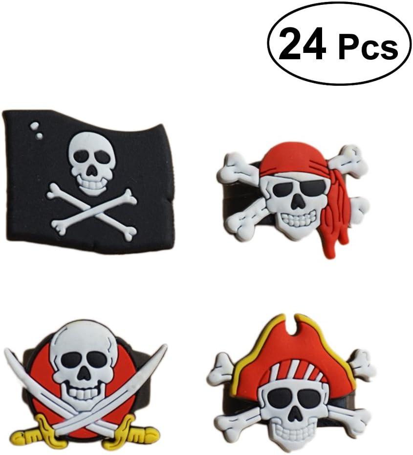 Toyvian 24 Piezas Anillos de Pirata favores de Fiesta de cumpleaños Anillos de Juguete de cráneo Crossbone para niños (6 * 1 + 6 * 2 + 6 * 3 + 6 * 4)