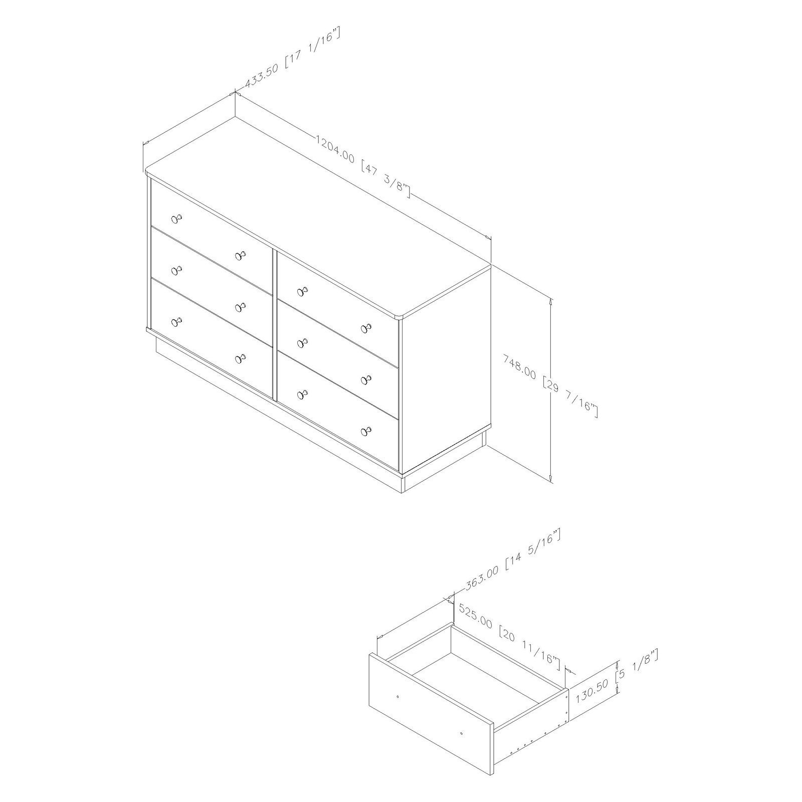 South Shore Litchi 6-Drawer Double Dresser, Pure White with Nickel Finish Knobs by South Shore (Image #4)
