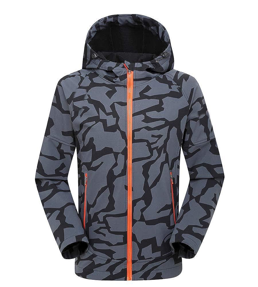 Minghe Giacca termica Softshell,da uomo - Cappotto da snowboard antivento, Capispalla casual foderata in pile, Giacca felpa con cappuccio - per Autunno Inverno