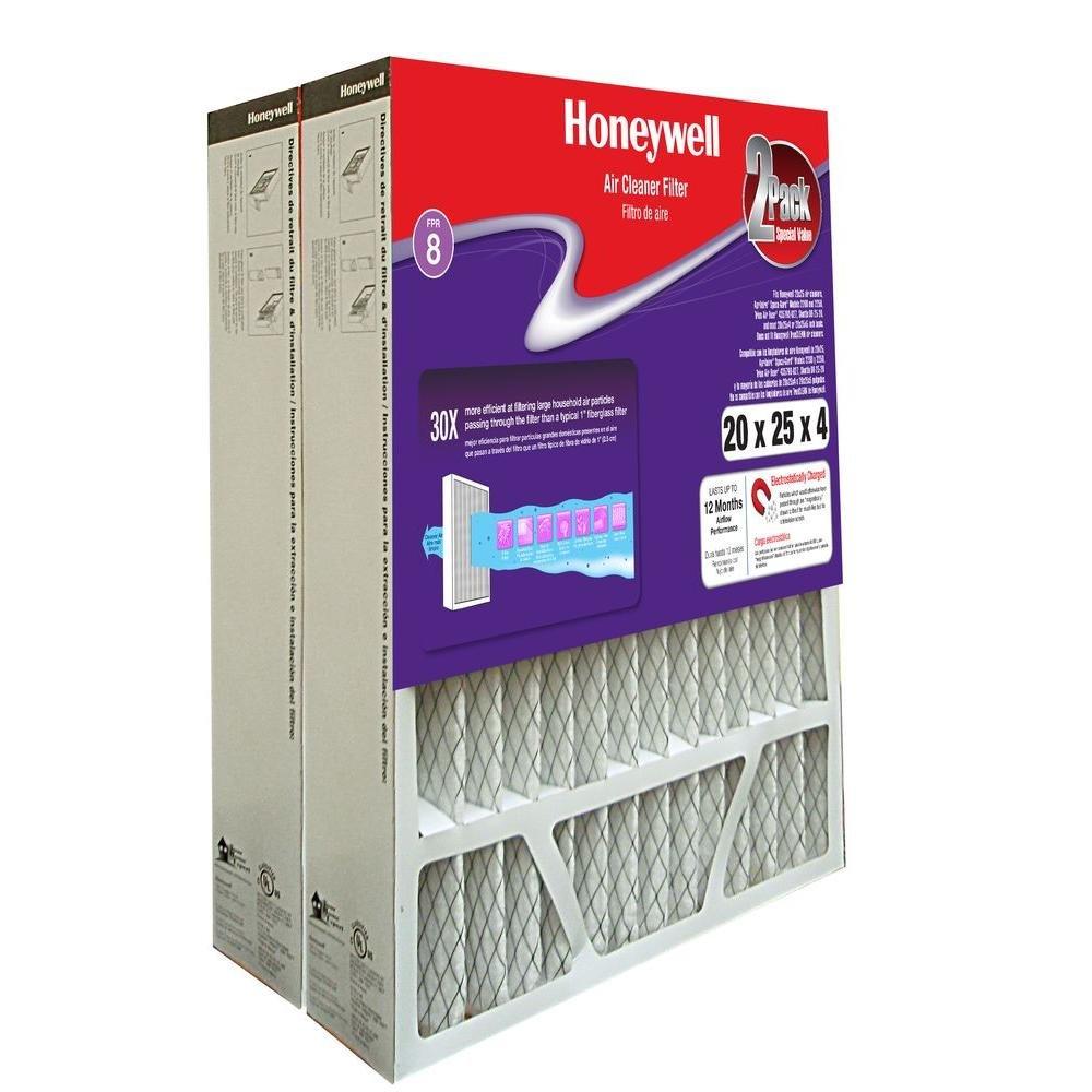 Air Filter, 16x25x4, MERV 8, 2 pk.