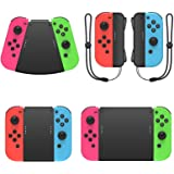 MENEEA Game Handle Connector for Nintendo Switch/Switch OLED Joy-Con, 5-in-1 Gamepad Handle with Wrist Strap for NS Switch Gr