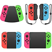 MENEEA Game Handle Connector compatible with Nintendo Switch for Joy-Con, 5-in-1 Gamepad Handle with Wrist Strap for NS…