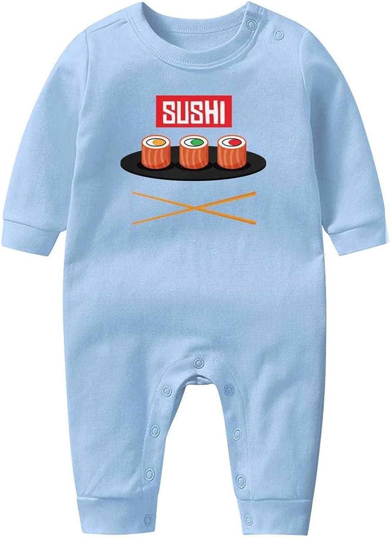 Sushi Japanese Cuisine Fish Clip Art Vector Sushi Illustration Baby Boys Girls Long Sleeve Baby Onesie Romper Jumpsuit