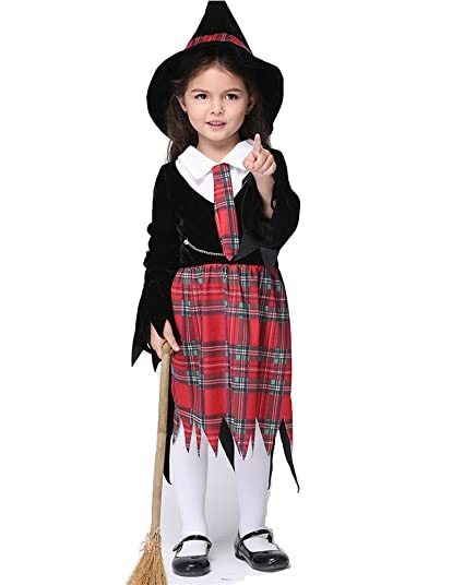 witch girls halloween costumes scottish lattice party cosplay clothing xs