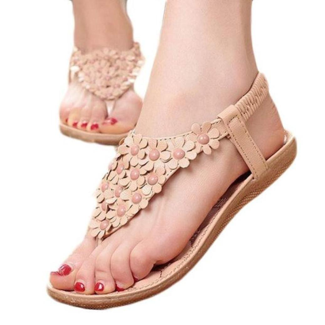Bohemia Sweet Sandals, AgrinTol Women's Fashion Sweet Summer Bohemia Sweet Beaded Clip Toe Sandals Beach Shoes (40, Khaki2)