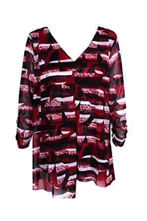 8b0e631056edf Amazon.com  Alfani Womens Plus Printed Tiered Knit Top Red 1X  Clothing