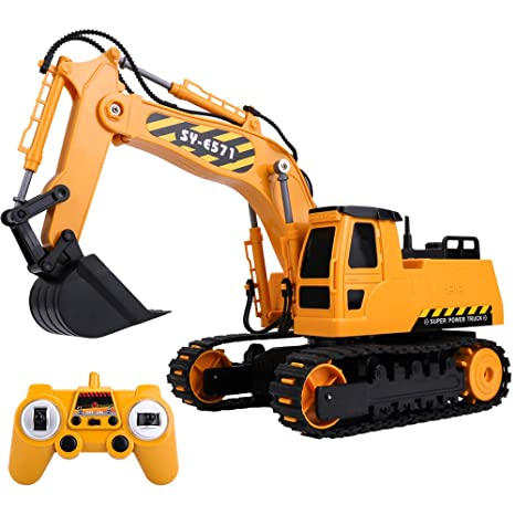 Amazon Com Gearroot Rc Excavator Toy For Boys 2 4ghz Remote Control