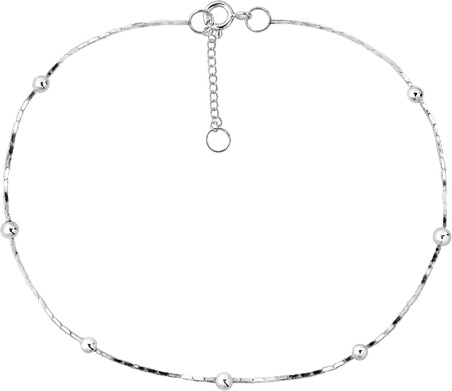 AeraVida Sleek Round Beads Simple .925 Sterling Silver Chain Anklet