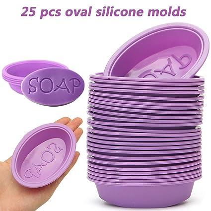 Abboard 25 moldes de Silicona ovalados para jabón, decoración de Tartas, Molde para Hornear