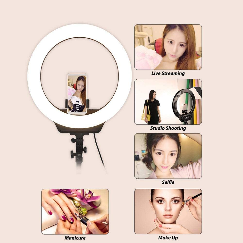 etc Serounder 16inch LED Ring Light,3200-6500K Color Temperature Dimmable 1690LM Photography Selfie Light Lamp with Ball Head and Phone Clip for Makeup VLOG Live Broadcast US