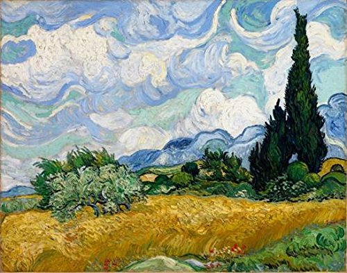 Wieco Art - Wheat Field with Cypresses by Van Gogh Famous Oil Paintings Reproduction Modern Framed Landscape Giclee Canvas Prints Artwork Pictures on Canvas Wall Art for Home Office Decorations