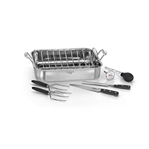 "Cuisinart 7117-16PS Chef's Classic - 16"" Stainless Steel Roaster Pan, Silver"
