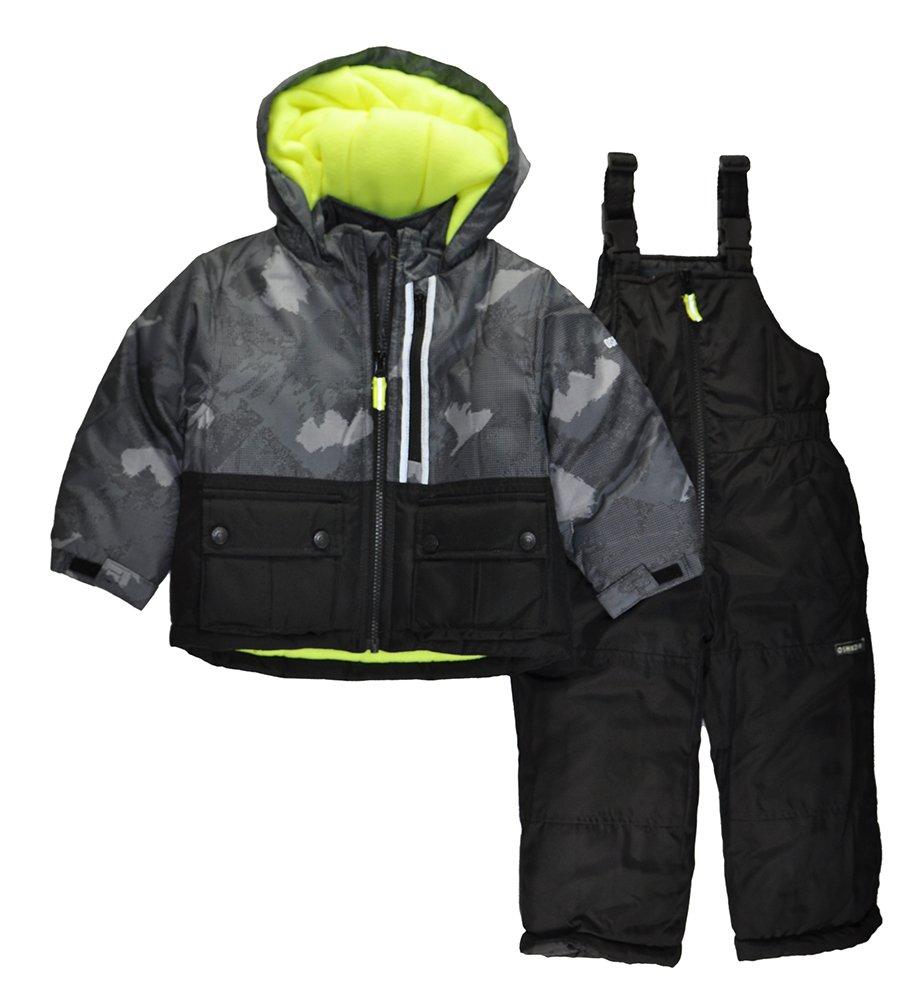 Osh Kosh Boys' Little Ski Jacket and Snowbib Snowsuit Set, New Black, 4