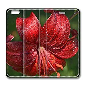Brain114 6 Plus, iPhone 6 Plus Case, iPhone 6 Plus 5.5 Case, Red Lily PU Leather Flip Protective Skin Case for Apple iPhone 6 Plus 5.5