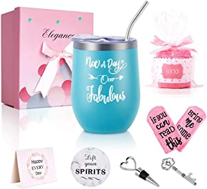 Tumbler Birthday Gifts Set for Women, Not A Day Over Fabulous Insulated Tumbler with Sayings for Women Her Girlfriend Mom, Stainless Steel Tumbler with Lid and Straw (Blue-Mint)