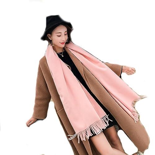 Unisex Colore Solido Extra Spesso Cashmere Feel Sciarpe Stole Scialli Con Le Nappe(Rosa Bambino)