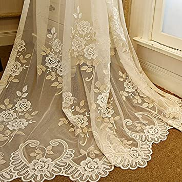 Romantic Embroidery Window Sheer Curtain Luxury Lace Voile Tulle Rod Pocket Net Mesh Drape Elegant Graceful Tulle for Villa Living Room Floral Drapery W39 by 72 inch Long 1 Pair 2 Panels ZZCZZC