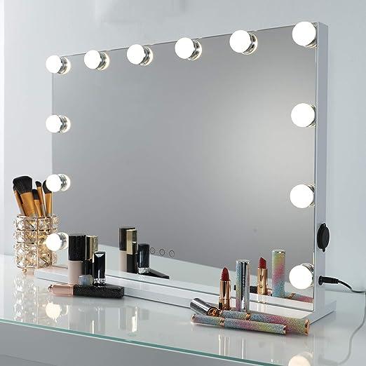DAYU Hollywood Make up Schminkspiegel mit 12 LED Licht Spiegel Beleuchtet Kosmetikspiegel Spiegel mit USB für Wohnzimmer, Schlafzimmer, Kosmetikstudio
