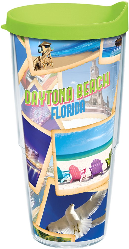 Tervis 1250411 Florida Daytona Beach Collage Tumbler with Wrap and Lime Green Lid 24oz Clear