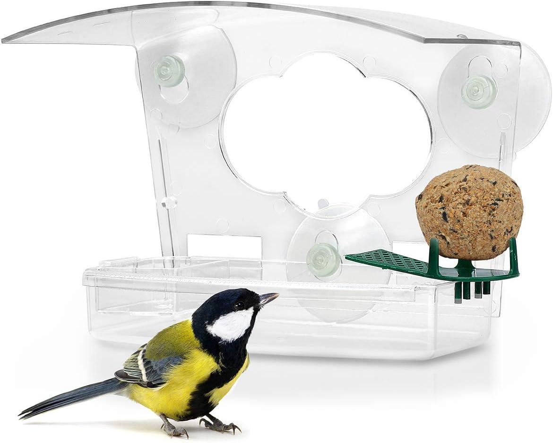 Wildlife Friend - Comedero para pájaros en calidad de Acyrl con ventosa de sujeción, pajarera con bebedero para pájaros para caceros, gorras y pequeñas aves silvestres
