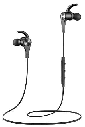 Review SoundPEATS Bluetooth Headphones In Ear Wireless Earbuds 4.1 Magnetic Sweatproof Stereo Bluetooth Earphones for Sports With Mic (Upgraded 8 Hours Play Time, Secure Fit, Noise Cancelling) -Black
