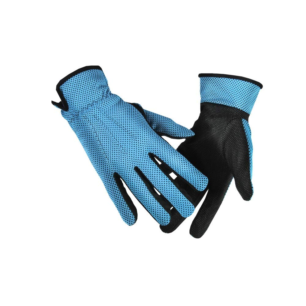 Comfortable Sun Protection Sun Protection Gloves UV Protection UPF50+ Breathable Wicking Sun Protection Gloves Durable (Color : Blue, Size : L-Five Pairs)