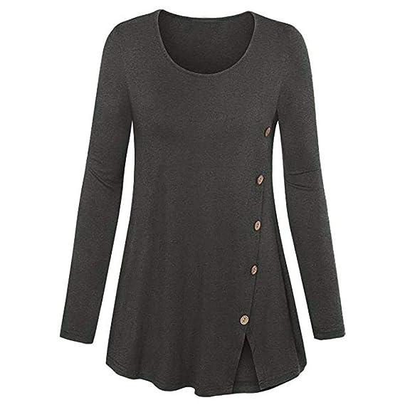 Camiseta Blusa para Mujer, BBestseller Camisas Mujeres Las Mujeres más el tamaño de Manga Larga sólido O-Cuello Blusa Que se bifurca Pullover Tops Camisa: ...
