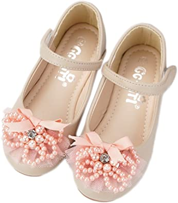 CYBLING Toddler Little Girls Soft PU Leather Mary Janes Flowers Dress Princess Shoes