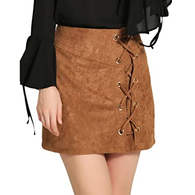 3db51460 Zhhlinyuan Fashion Mujeres High Waist Velvet Bodycon Skirt Straps Short  Stretch Skirt