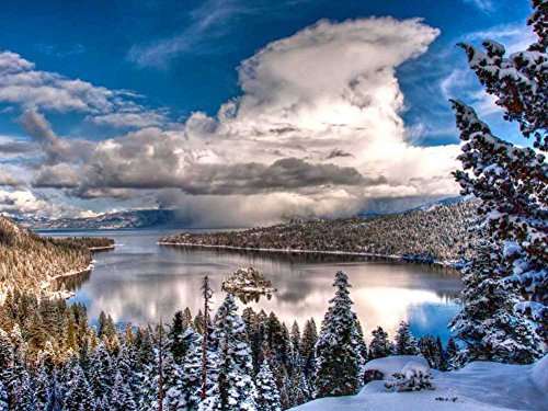 (Emerald Bay, Lake Tahoe -Oil Painting On Canvas Modern Wall Art Pictures For Home Decoration Wooden Framed (20X16 Inch, Framed) )