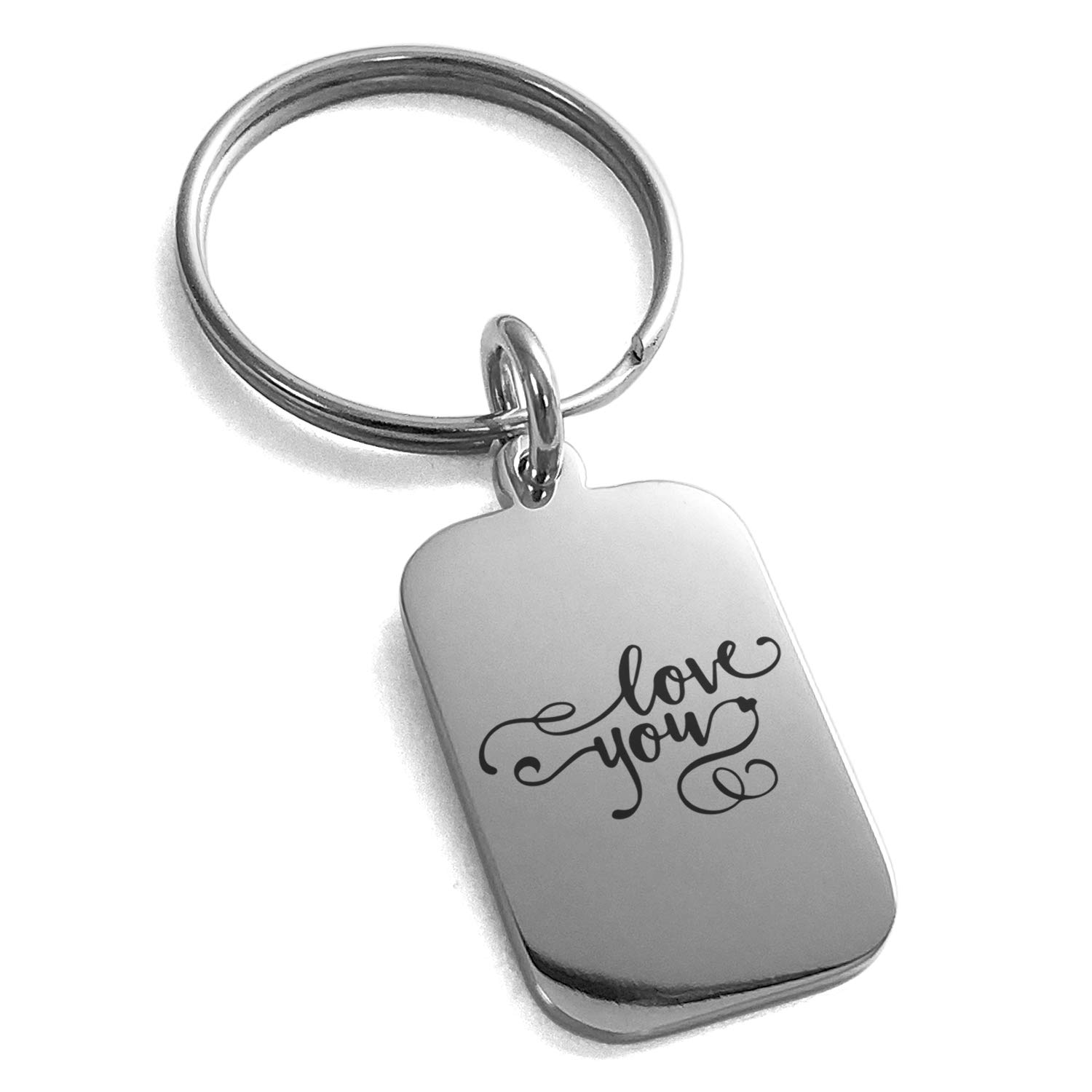 Tioneer Stainless Steel Love You Calligraphy Swirl Engraved Small Rectangle Dog Tag Charm Keychain Keyring