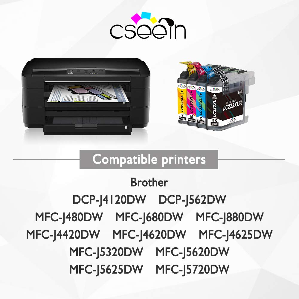 Cseein 12x Reemplazo LC223 Cartuchos de Tinta Alta Capacidad para Brother DCP-J562DW 4120DW MFC-J480DW J680DW J880DW J4420DW J4620DW J4625DW J5320DW ...