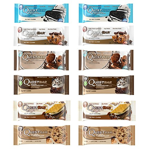Quest Nutrition Protein Bar Fan Favorites Variety Pack. Low Carb Meal Replacement Bar w/ 20g+ Protein. High Fiber, Soy-Free, Gluten-Free (12 Count)